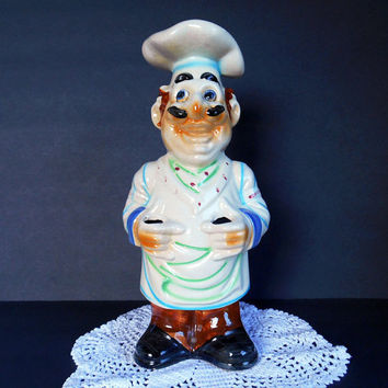 Kitsch Retro Vintage Ceramic Chef, Ceramic Utensil Holder, 1940s 1950s, Mid-Century Figurine, Kitchen Counter Decor, Handpainted