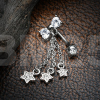 Sparkle Bow-Tie Star Dangle Reverse Belly Button Ring