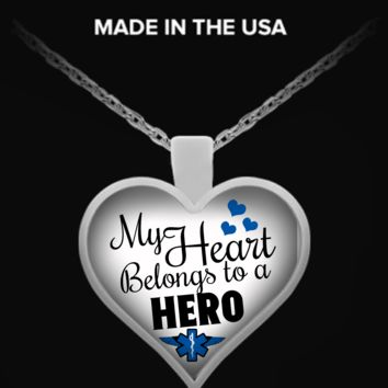 My Heart Belongs To An EMS Hero Necklace emsheronecklace