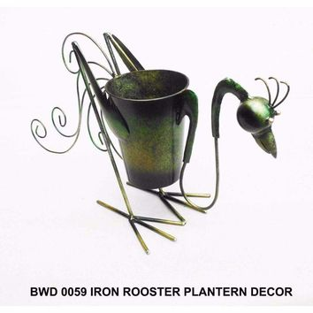 D Art Collection Iron Rooster PlanterDecor