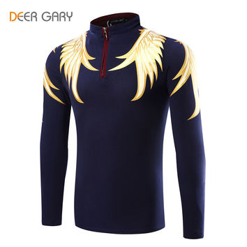 2016 Fashion Design Men's Polo Shirts Printing Pattern Long-sleeved Polo Homme Stand Collar Slim POLO shirt