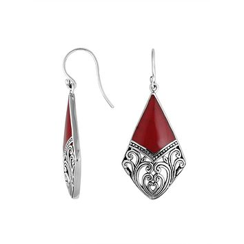 AE-6199-CR Sterling Silver Diamond Shape Earring With Coral