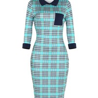 Chic Designed Doll Collar Color Block Plaid Bodycon Dress