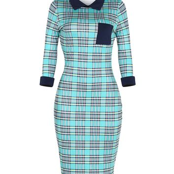 Streetstyle  Casual Chic Designed Doll Collar Color Block Plaid Bodycon Dress