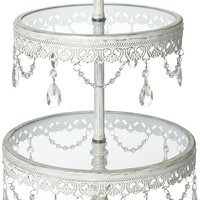 Jenny 2-Tier Glass Top White Cake or Cupcake Stand