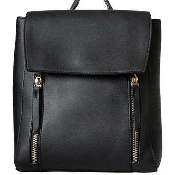 Black Vegan Leather Backpack