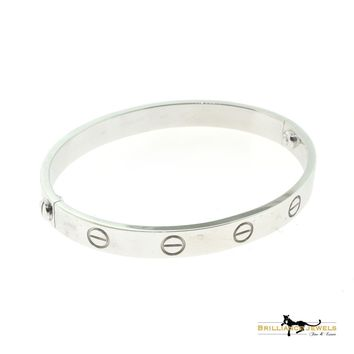 Cartier Love Bracelet Size 16 18k White Gold with BOX & PAPERS (C-160)