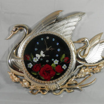 Vintage 3D Wall Clock Swan Shaped Gold Colored WORKS Shadowbox Real Moth Cloth Roses