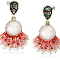 "Betsey Johnson ""The Sea"" Sea Shell and Pearl Drop Earrings"