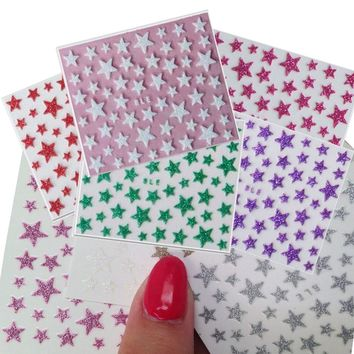 1sheets Fashion 3d DIY Glitter Star Nail Art Shinning of Nail Stickers Decals Accessory Tools Nails Tips Toes Manicure TRNC132