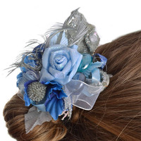 Handmade decorative beautiful blank for hair clip or brooch with blue flowers