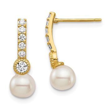 14k Yellow Gold 6 mm White Pearl Cubic Zirconia Earrings