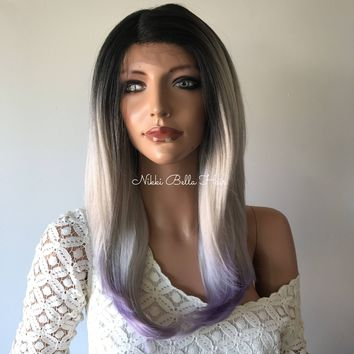 Grey Purple Ombre'  Human Hair Blend Multi Parting Lace Front Wig - 41713 ON SALE