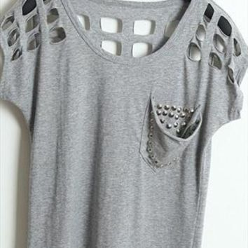 Fashion hollow out rivet shirt from Fanewant