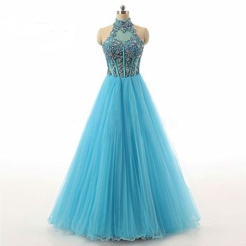 Spring Gown New Arrive Halter Blue Organza Sexy Long Evening Dresses