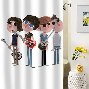 Arctic Monkeys cartoon shower curtain special custom shower curtains that will make your bathroom adorable