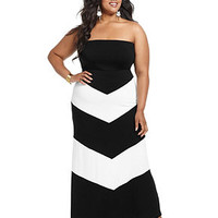 ING Plus Size Dress, Strapless Striped Maxi - Plus Size Dresses - Plus Sizes - Macy's