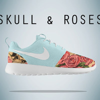 Floral Nike Roshe Run, Roses and Skulls Roshe Run,Blue  Roshe, Floral Roshe,