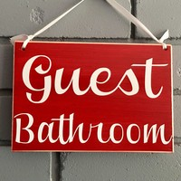 8x6 Guest Bathroom Wood Sign