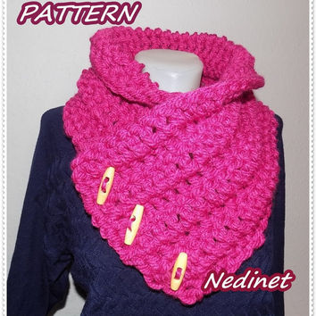 Crochet PATTERN, 3 Button 'Nedi' scarf, Wrap cowl, Shoulder Instant DOWNLOAD Pattern