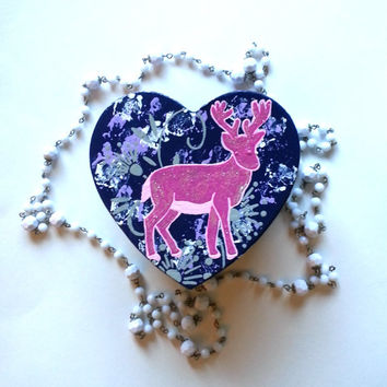 pink deer with flowers heart shaped jewelry box for trendy girls room