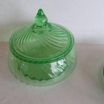 Green Depression Glass Candy Dish Art Deco Glassware Green Depression Swirl Pattern Green Candy Dish Covered Art deco Glassware Covered Bowl