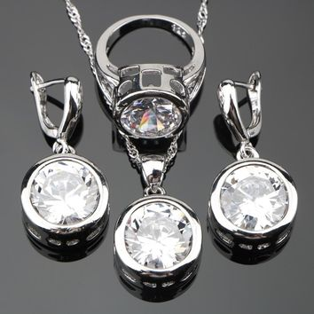 Round Silver 925 Pure White Stones Costume Jewelry Sets For Wedding Jewelery Women Earrings Rings Pendant Necklace Set Gift Box