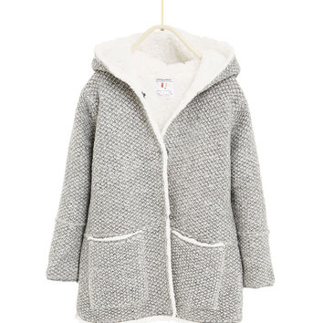 KNIT DUFFLE COAT WITH FLEECE