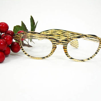 Vintage 1950s Horn-rimmed Cat-Eye Eyeglass Frames for Women, Lucite Plastic in Honey Yellow with Black Stripes and Metallic Gold Striations
