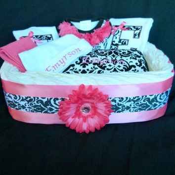 Personalized Monogram Baby Girl Diaper Gift Basket Damask Hot Pink Diva Princess