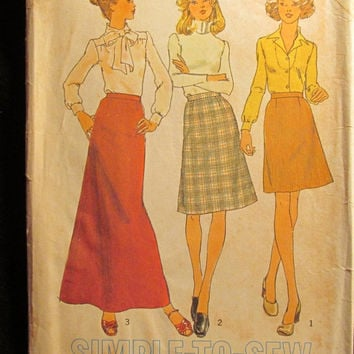 Sale Uncut 1970's Simplicity Sewing Pattern, 7142! Size 14 sml/Medium/Women's/Misses/waist 28/Ankle Length/Thigh Length/Knee Length Skirts