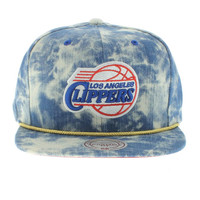 Los Angeles Clippers The Blue Acid Wash Denim SNAPBACK By Mitchell And Ness