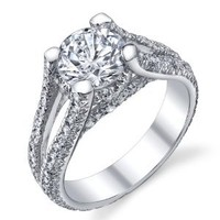 2 Carat Solid Sterling Silver 925 Engagement Ring, Bridal Ring, With Cubic Zirconia CZ Sizes 5 to 9