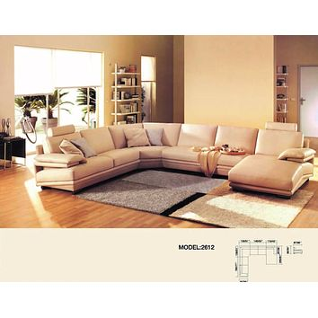 Luxury Perugia Morden Genuine Leather 6 Seater Sectional Sofa+Chaise