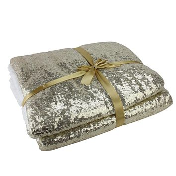 "Glittering Gold and White Throw Blanket 49"" x 67"