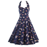 Women Vintage Style Birds Printed 50'S 60'S Swing Pinup Retro Party Housewife Sleeveless Backless Halter Dress