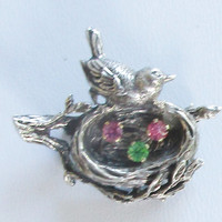 ANSON STERLING Bird's Nest Brooch Pink Blue Crystal Eggs  F93