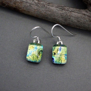 Dangle Earrings - Dichroic Glass  Earrings - Fused Glass Earrings - Lime Green Earrings - Unique Earrings - Drop Earrings