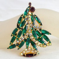 Vintage Stunning Asymmetrical Rhinestone Christmas Tree Pin Book Piece