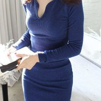 Deep Blue V-Neck Pullover Knitted Dress