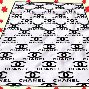 Coco Chanel logo Funny Blanket Kids Blankets Bedroom Vintage Home Living Quilts
