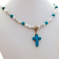 White Turquoise Howlite Stone Cross Designer Necklace