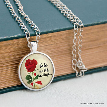 Tale as old as time necklace-Beauty and the beast necklace-anniversary gift-wedding gift-gift for her-Valentines gift-by NATURA PICTA-NPNK55