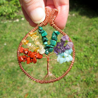multicolor tree of life pendant necklace,multicolor necklace,multicolor pendant,multicolor tree of life jewelry,birthday gift for mom,rustic