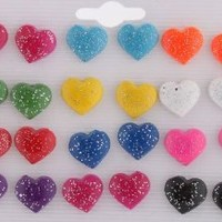 8 Packs of 12 Pairs of Girls Assorted Multicolored Heart Glitter Style Stud Earrings Jewelry Set