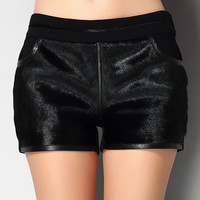 Black Mohair Fur Short with Pocket