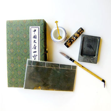 Chinese Calligraphy Set for Beginners with Brush, Stone, Ink, Paper from the Discovery Channel