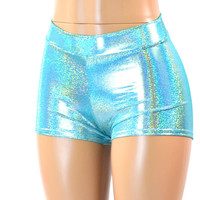 Seafoam Holographic Mid Rise Shorts
