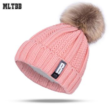Fashion Girl's Winter Hats Kids Knitting Hat Cap Pompoms Ball Hat Warm Brand Casual Gorros Thick Female Cap Skullies Beanies