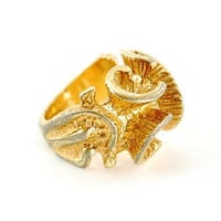 Vintage Abstract Chunky Gold Ring (14K Gold Plated, Textured, Spirals, Big, Large, 1960s, Modern, Modernist, Retro, Costume Jewelry)